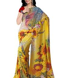 Buy yellow printed georgette saree with blouse printed-saree online