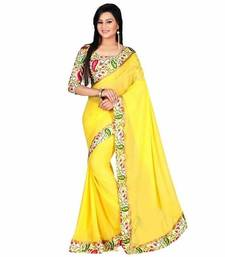 Buy Yellow printed Lace Border chiffon saree with Bhagalpuri blouse chiffon-saree online