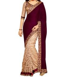 Buy Velvet printed velvet saree with blouse velvet-saree online