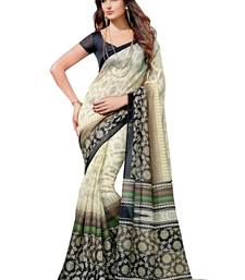 Buy Black and Cream bhagal puri cotton silk with blouse bhagalpuri-silk-saree online