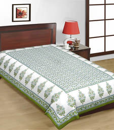 Buy White and Green Color Designer Print Pure Cotton Single Bedsheet bed-sheet online