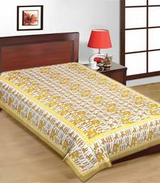 Buy Orange and White Elephant Design Pure Cotton Single Bedsheet bed-sheet online