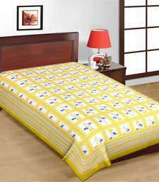 Buy Green Color Floral Print Check Design Pure Cotton Single Bedsheet bed-sheet online