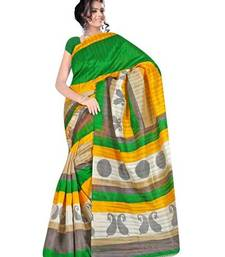 Buy Green printed art_silk saree with blouse bhagalpuri-silk-saree online