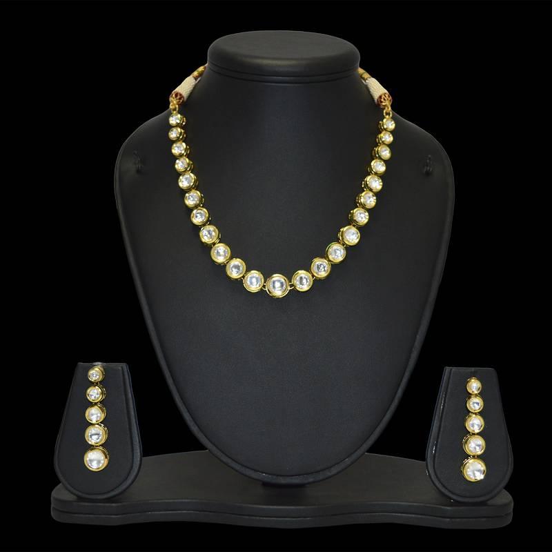 Buy Real Kundan Single Line Necklace Set Online