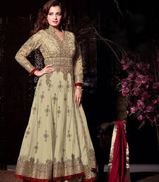 Buy CREAM & MAROON NET EMBROIDERED SEMI-STITCHED ANARKALI SUIT eid-special-salwar-kameez online