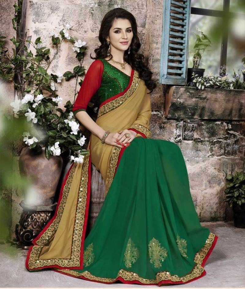 Buy Chikoo And Green Embroidered Chiffon Saree With Blouse Online