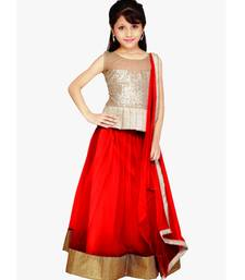Buy Red Net plain kids lehenga-choli kids-saree online