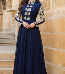 Buy Navy Blue embroidered georgette semi stitched party-wear-gowns party-wear-gown online
