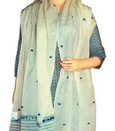 Buy Pure cotton Stole with thread weaving works from Assam-White and Blue stole-and-dupatta online