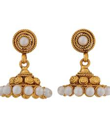 Buy Darling Gold White Pearl Ceremony Jhumki Earrings jhumka online