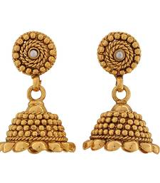 Buy Gorgeous Gold White Indian Ethnic Reception Jhumki Earrings jhumka online