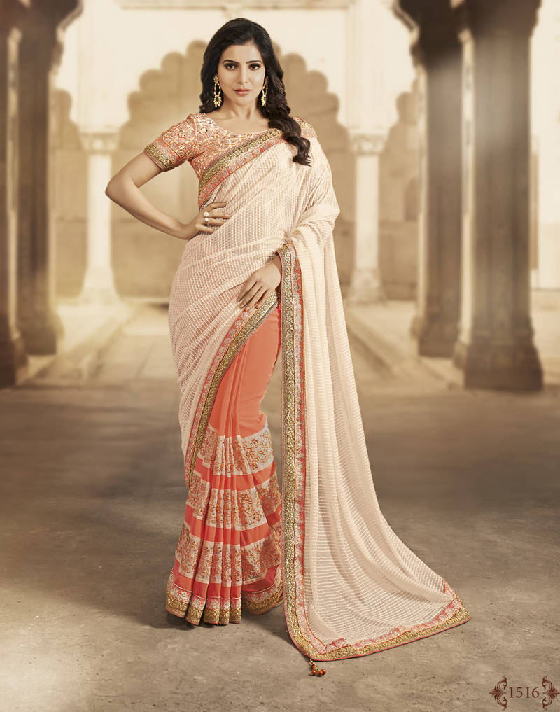 Buy white and orange embroidered georgette saree with for Country code 1516