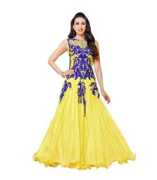 Buy Yellow net embroidered semi stitched party-wear-gowns party-wear-gown online