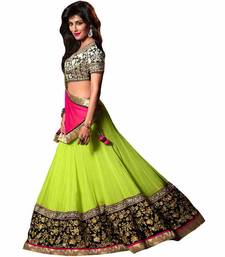 Buy Parrot Georgette Embroidary work Lenghas lehenga-choli online