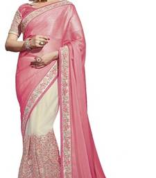 Buy Pink and White embroidered chiffon saree with blouse net-saree online