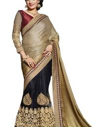 Buy Black and Gold embroidered chiffon saree with blouse net-saree online