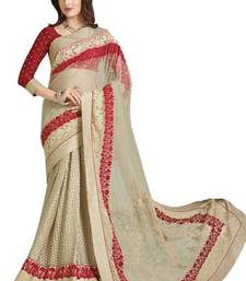 Buy Beige printed net saree with blouse brasso-saree online