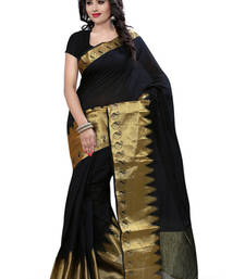 Buy black plain Cotton saree with blouse cotton-saree online