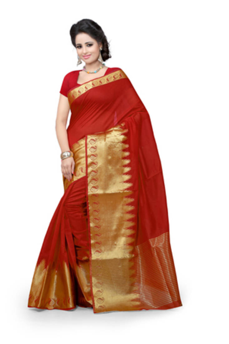 Buy Red Plain Cotton Saree With Blouse Online