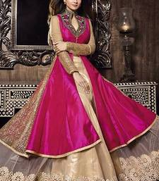 Buy Pink embroidered bhagalpuri silk semi stitched salwar with dupatta anarkali-salwar-kameez online