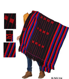 Buy Handwoven navyblue with black weaving traditional naga shawl shawl online