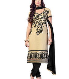 Buy Beige and Black embroidered Chanderi unstitched salwar with dupatta dress-material online