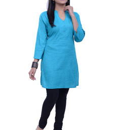 Buy NavRachna Women Turquoise Cotton Straight Cut Short Kurti with all over Pintucks cotton-kurti online