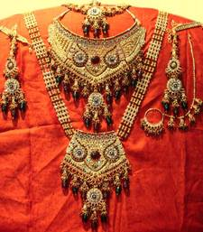 Buy Gold Red-Green Classic Bridal Set necklace-set online