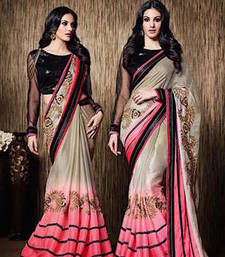 Buy Pink And Cream embroidered silk saree with blouse silk-saree online