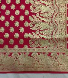 Buy Red hand woven silk saree with blouse anniversary-gift online
