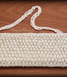 Buy Elegant white fully studded beads work clutch purse clutch online