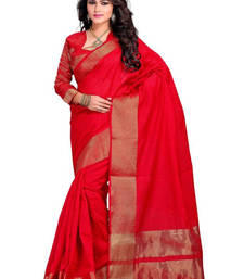 Buy red hand woven cotton saree with blouse cotton-saree online
