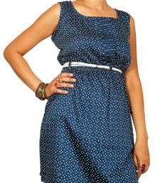 Buy Navy blue dotted tunic dress online