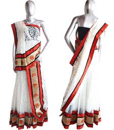 Buy Orange and White Lehenga with 40 Crochet Motifs gifts-for-her online
