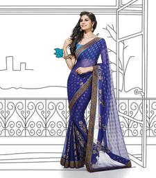 Buy Blue Lace border Work Chiffon saree with blouse party-wear-saree online