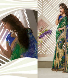 Buy Multicolor Heavy Bordered Sarees Brasso saree with blouse heavy-work-saree online
