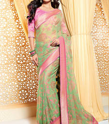 Buy Green Heavy Bordered Saree Georgette and Brasso saree with blouse heavy-work-saree online