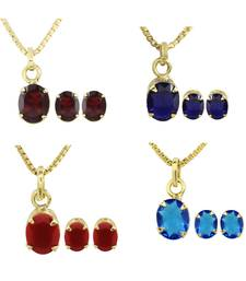 Buy Combo of  Multi-Colour CZ Pendants with Chain & Earrings for women Pendant online