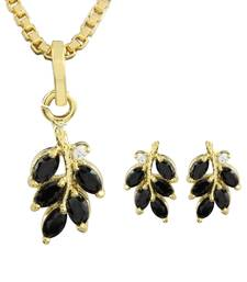 Buy Black Gold Plated CZ Pendant with Chain and Earrings Pendant online
