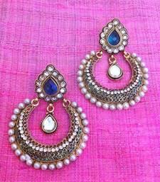 Buy Dazzling red blue pearl polki earring,Ethnic India Bollywood Women Jewelry c464b Earring online
