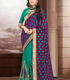 Buy Purple and Green embroidered georgette Saree with blouse brasso-saree online