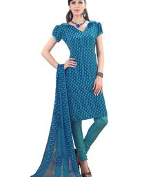 Fabdeal Blue French Crepe Dress Material shop online