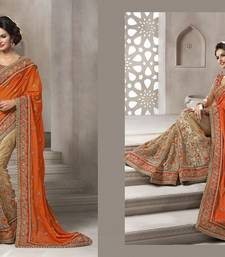 Buy Orange and Chiku embroidered Georgette and Net saree with blouse wedding-saree online