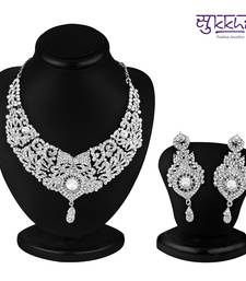 Buy Sukkhi Delightful Rhodium plated AD Stone Necklace Set Necklace online