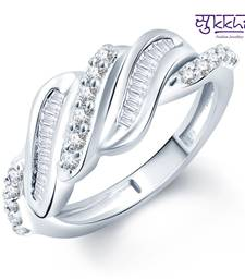 Buy Sukkhi Wavy Rhodium Plated CZ Ring Ring online