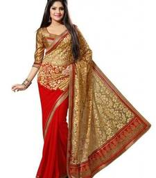 Buy Golden and Red embroidered chiffon saree with blouse chiffon-saree online