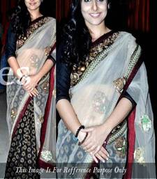 Buy Buy vidya balan white and black saree viscose-saree online