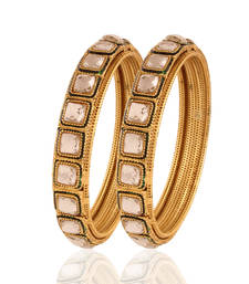 Buy gold plated white stone lavish bangles eid-jewellery online