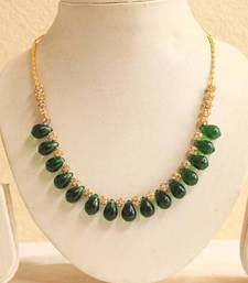 Buy BEAUTIFUL SIMULATED EMERALD BEADS STONE NECKLACE  eid-jewellery online